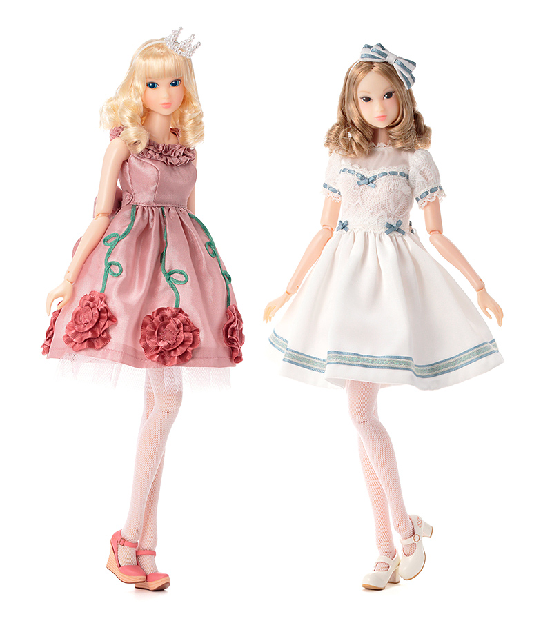 momokoDOLL Pink Rosie dress & momokoDoll White Lily dress